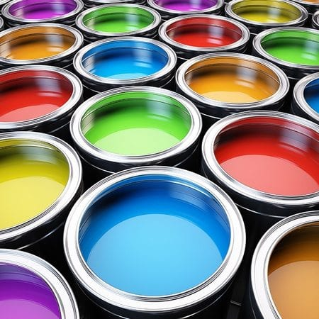 A rainbow of different open paint cans